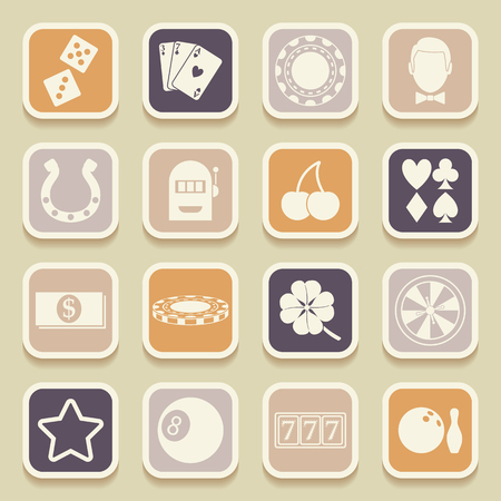 Casino universal icons for web and mobile applications. Vector illustration