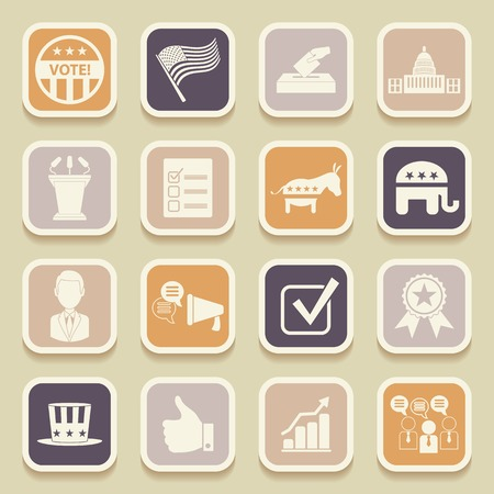 political campaign: Political election campaign universal icons for web and mobile applications. Vector illustration Illustration
