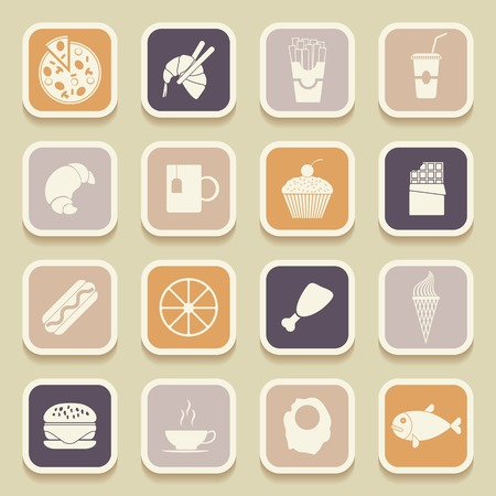 Food universal icons for web and mobile applications. Vector illustration Vector