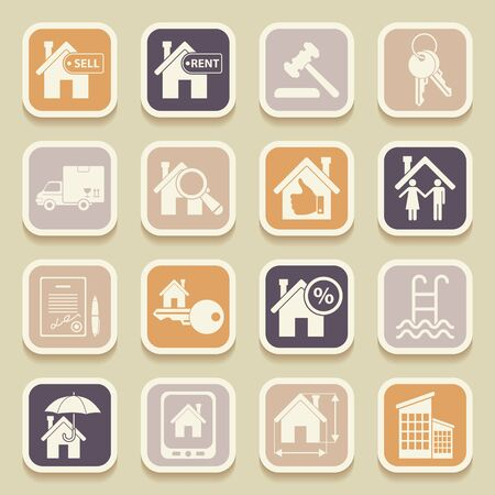 swimming pool home: Real estate universal icons for web and mobile applications. Vector illustration