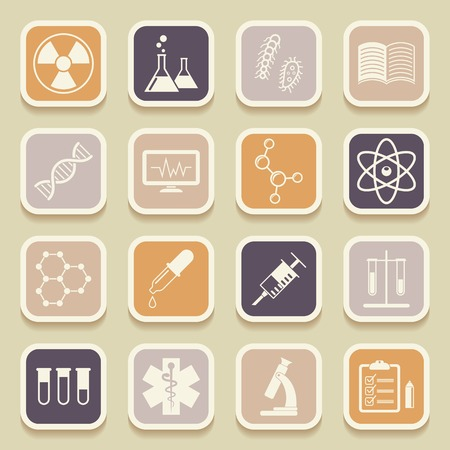 bacteria microscope: Science, medical and education universal icons for web and mobile applications. Vector illustration