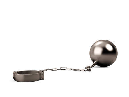 over burdened: Ball and chain isolated on a white background