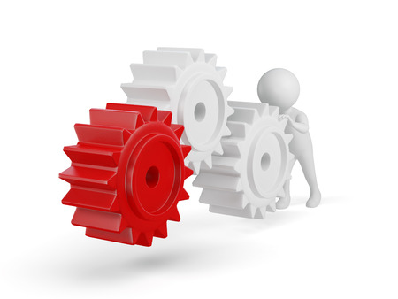 3d small person rolls a large gears. 3d image. Isolated white background. photo