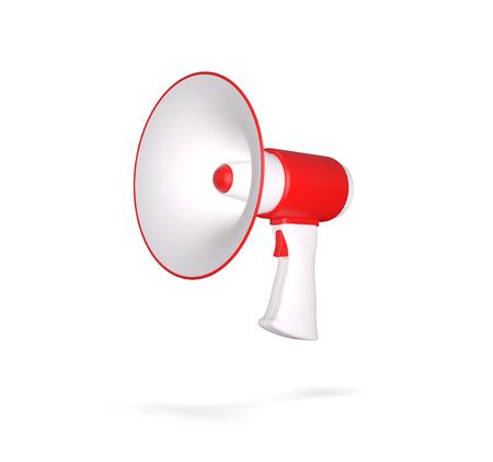 mega phone: Retro megaphone isolated on white. 3d render illustration.