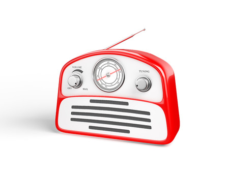speaking tube: Old red vintage retro style radio receiver isolated on white background