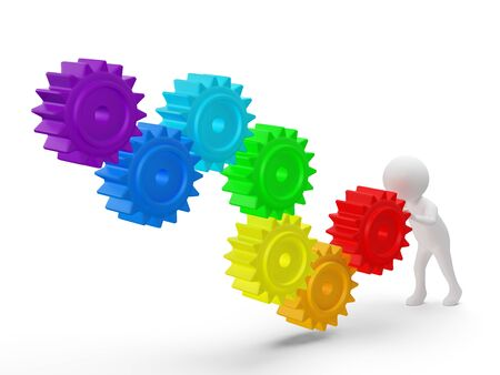 3d small person rolls a large rainbow colors gears . 3d image. Isolated white background. photo