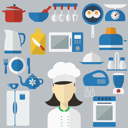 cartoon kitchen: Piso Iconos del concepto de diseño de utensilios de cocina con un chef en pancartas. Herramientas de cocina y equipo de cocina, sirven comidas y elementos de preparación de alimentos. Chef y herramienta de carácter