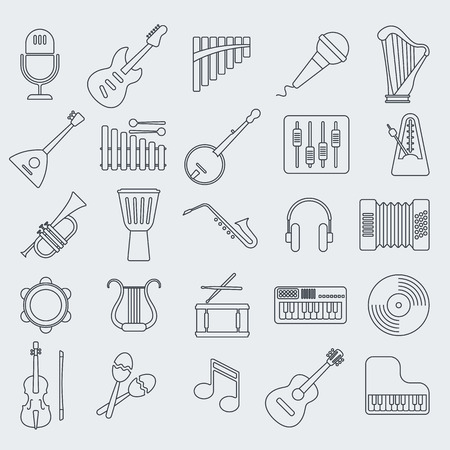 Musical de iconos de vectores línea de instrumento. Ilustración de vector