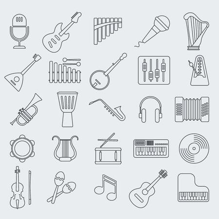 instrumentos de musica: Musical de iconos de vectores línea de instrumento.