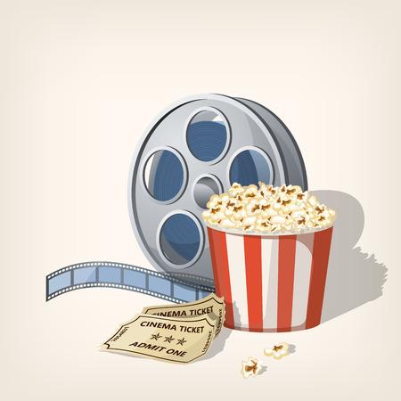 Popcorn box, film strip and tickets. Cinema Poster Design Template.Vector illustration