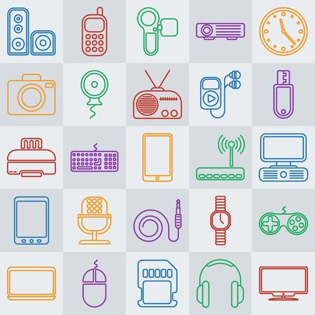 Vector gadgets ic�ne de la ligne set Illustration