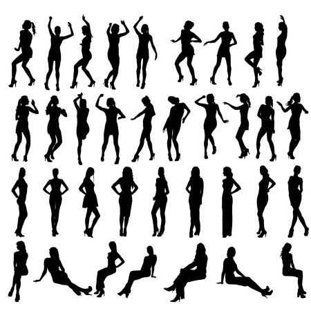 woman pose: Vector silhouettes of dancing, standing and sitting women. Women in various poses.
