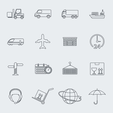 Transportation vector line icon set Vector
