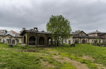 ghost town: The old vintage ghost town, with ragged houses Stock Photo