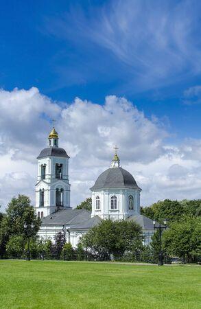 liturgy: White orthodox church against the blue sky