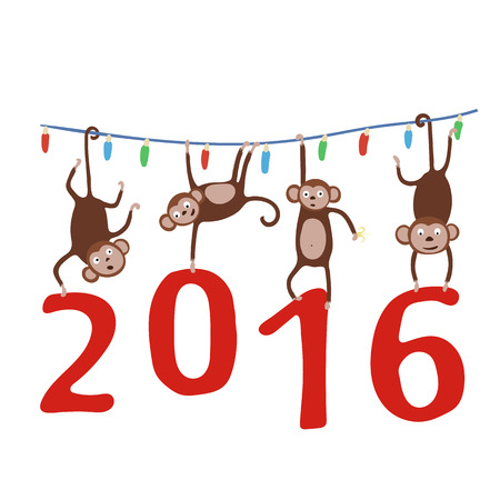 Monkey hanging on the Christmas garland and holding in the paws digits of 2016. Vector illustration.