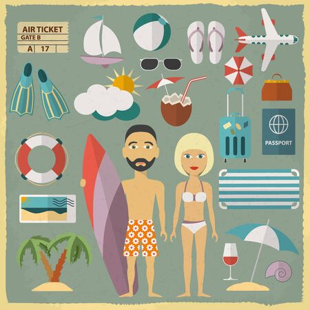 Summer holiday character design with summer objects. Man and woman in a swimsuit. Vector illustration
