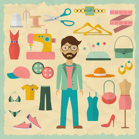 fashion: Conception de personnage masculin de styliste avec des objets de mode. Icônes de créateur de mode. Design plat illustration vectorielle. Illustration