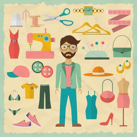 moda ropa: El diseñador de moda diseño de personajes masculinos con objetos de moda. Iconos de diseñadores de moda. Ilustración vectorial Diseño plano.