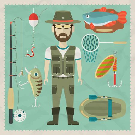 pescador: Personaje plano Pescador. Pesca iconos planos. Vector ilustraciones planas
