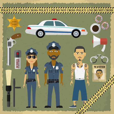 handcuffs female: Two police officers, man and woman, and criminal man in flat style. Police and criminal flat icons. Vector illustration. Illustration
