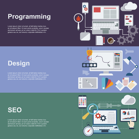 itc: Flat Concept Icons. Web development horizontal banner set with coding seo and design elements.