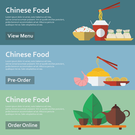 dim: Chinese food. Web banners in flat style. Vector illustration. Illustration