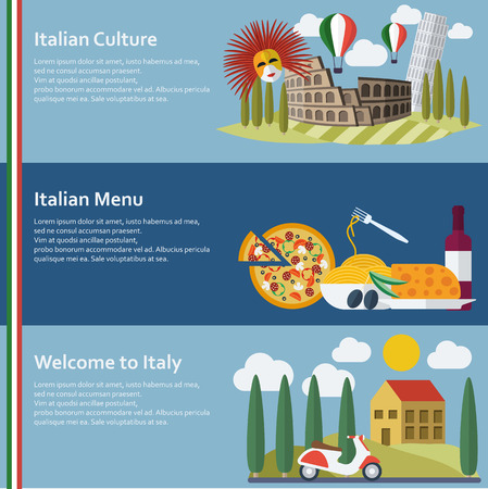 mediterranean homes: Set of  flat Italy web banners. Vector illustration.