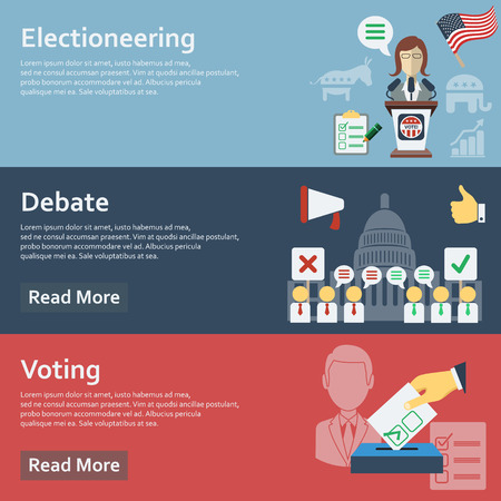 campaign promises: Election horizontal banners set with flat voting elements isolated vector illustration Illustration