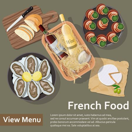 French food. Basket with wine and food. Flat Lay Style Illustration. Vector illustration