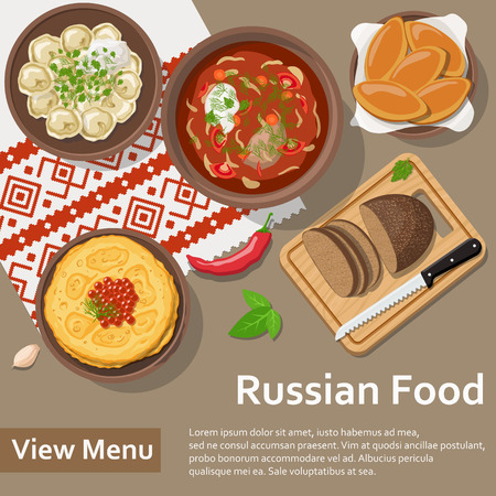 ready cooked: Russian food. Flat Lay Style Illustration. Vector illustration Illustration