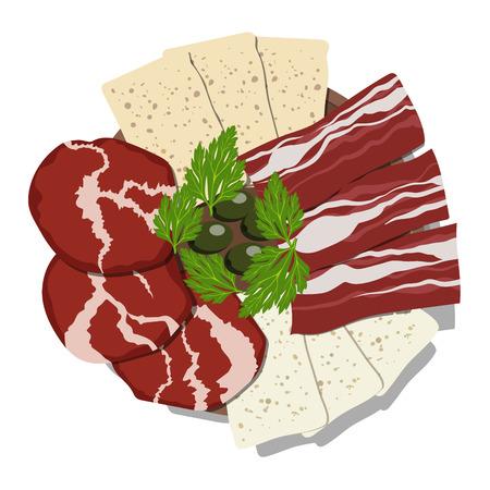 fiambres: Plato con rodajas de jamón, queso, tocino y aceitunas sobre fondo blanco. Ilustración del vector. Vectores