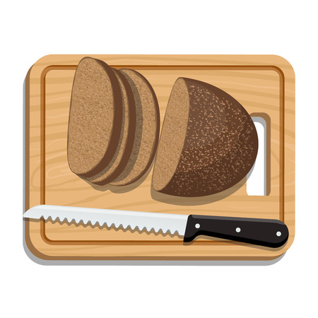 knive: Sliced Bread on Slicing board with knife. Vector illustration.