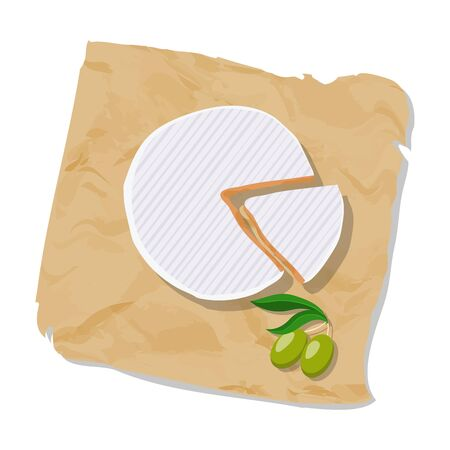 normandy: Disk and piece of Camembert on the paper. Vector illustration.