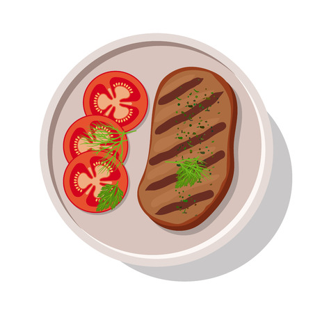 unwrapped: Grilled meat steak with tomatoes. Vector illustration Illustration