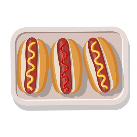 hotdogs: Plate of grilled hotdogs with mustard and ketchup. Vector illustration