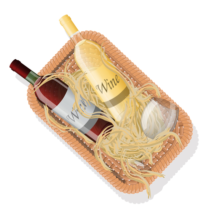 Picnic basket with bottles of red and white wine and wineglass in straw. Vector illustration Illustration