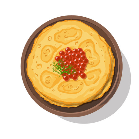 russian cuisine: Russian pancakes with red caviar on a plate isolated on white. Vector illustration Illustration