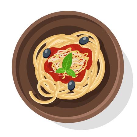 spaghetti bolognese: Italian pasta vector illustration. Isolated on white