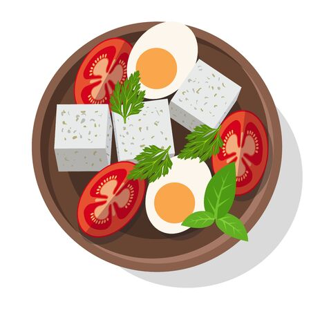Fresh salad with cheese, eggs, tomatoes and greens. Vector illustration Illustration