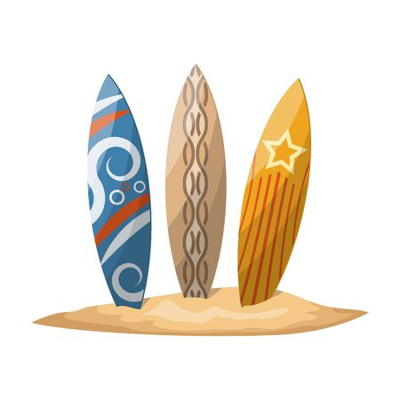 surfboards: Surfboards stuck in the sand. Vector illustration