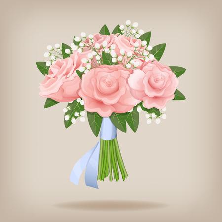 Trouwen boeket van roze rozen. Vector illustratie. EPS10.