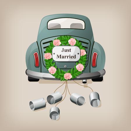 Net getrouwd op de auto. Trouwauto. Vector illustratie EPS10