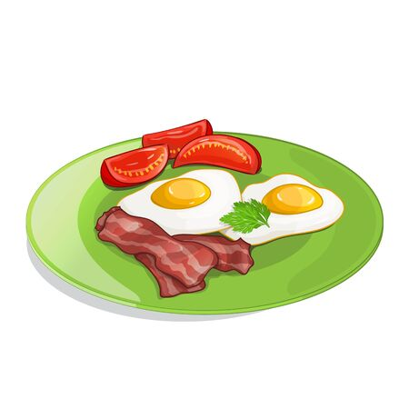 fried eggs: Bacon, tomato and fried eggs on the plate. Vector illustration