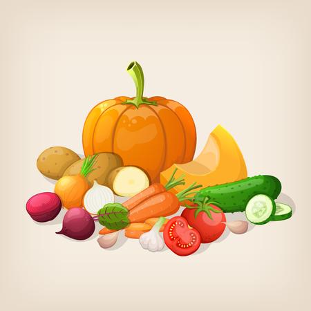ripe: Harvest juicy and ripe vegetables. Vector illustration.
