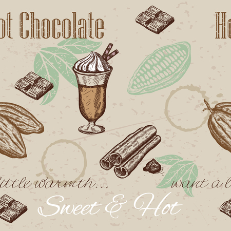 cacao: seamless pattern of cacao beans, chocolate, cup of hot chocolate. illustration