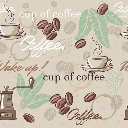 원활한 빈티지 커피 패턴입니다. 삽화