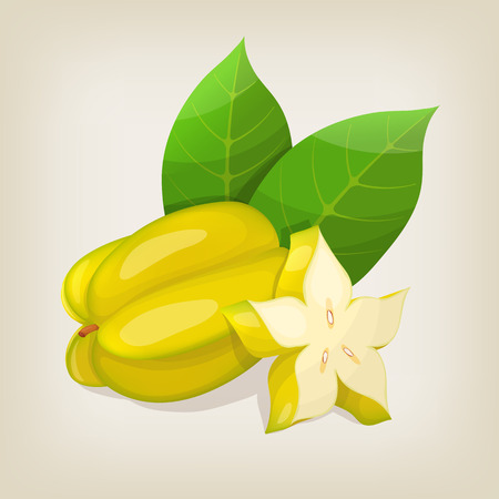 carambola: Star fruit Carambola. illustration. Illustration