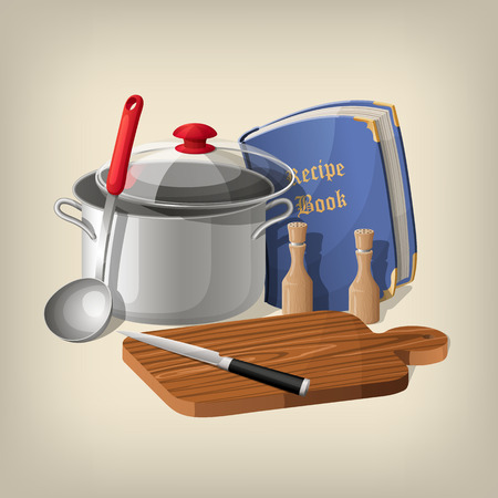 cutting board: Pan, ladle, recipe book, cutting board and knife kitchen background.