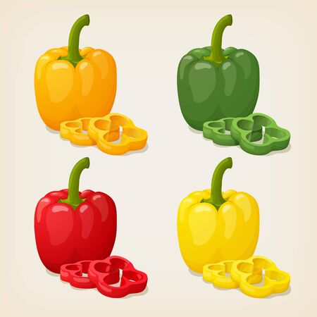bulgarian: Set of Colored Yellow Green Orange and Red Sweet Bulgarian Bell Peppers, Paprika Isolated on White Background